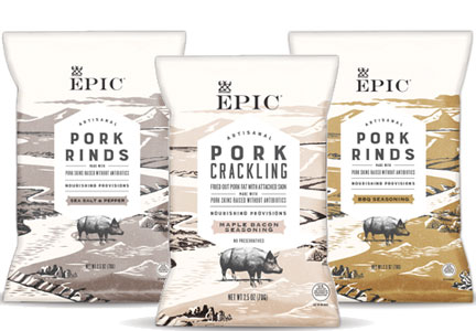 Epic Provisions is launching Pork Rinds and Cracklings with no artificial preservatives or flavorings.