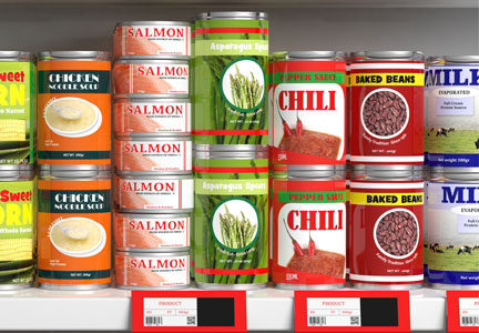 Canned foods with prices on supermarket shelf