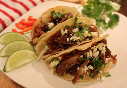 Superior Farms pulled lamb tacos