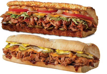 Quiznos Southern Style BBQ Pulled Pork and Spicy Chipotle BBQ Pulled Pork sandwiches