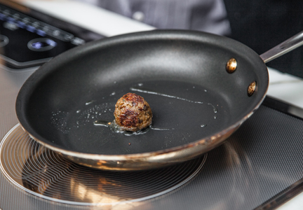 Memphis Meats meatball in frying pan