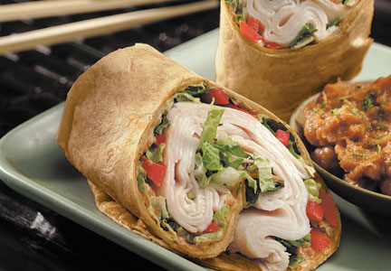 Thai turkey wraps