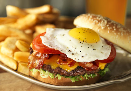 The Red Robin Royal Burger with fried egg on top