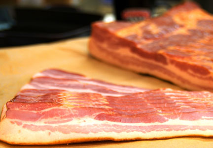 RJj's Meats makes modern cured and dry-cured bacon.