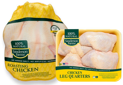 Sanderson Farms whole roasting chicken and chicken leg quarters