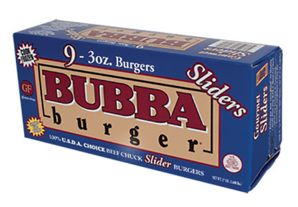 Package of Bubba Burger sliders