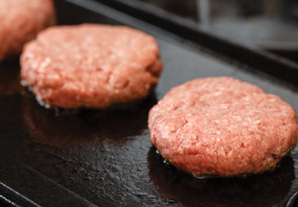 Raw beef hamburger sliders