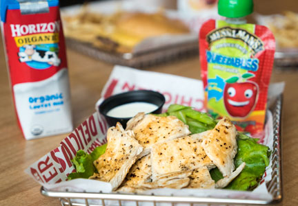 Smashburger has added grilled chicken strips on its children's meal offering.