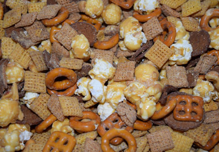 snack mix of pretzel, popcorn and Chex cereal