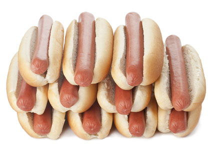 stack of hotdogs