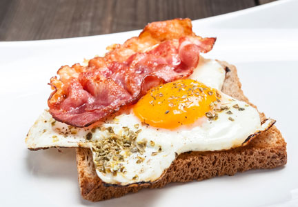 bacon and eggs on toast