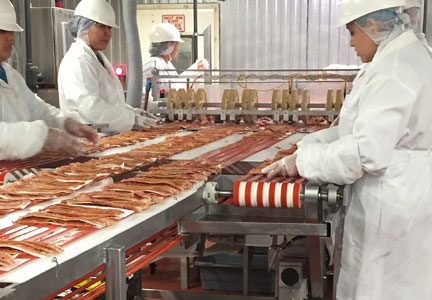 Sugar Creek is regarded as the country's largest, independent bacon processor, with 520 employees working two shifts.