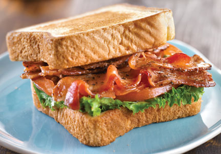 BLT made with Superior Farms' lamb bacon