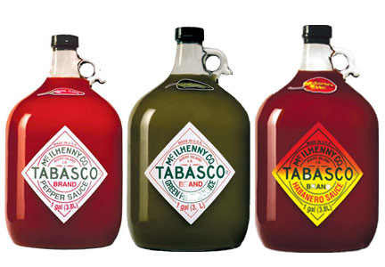 Gallon jugs of original, green pepper and habanero Tabasco hot sauce