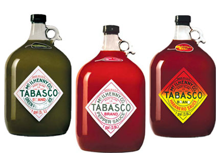 Gallon jugs of original, green pepper and habanero Tabasco sauce