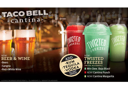 Alcohol will be served at Taco Bell Cantina locations.