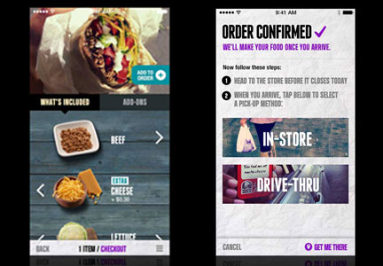 Taco Bell mobile app screen shots