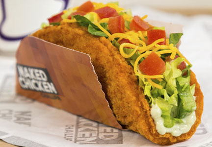 Taco Bell announced the nationwide roll out of its Naked Chicken Chalupa.