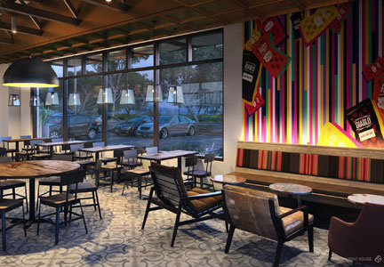 Taco Bell's Heritage concept is a modern interpretation of the chain's Mission-Revival style.