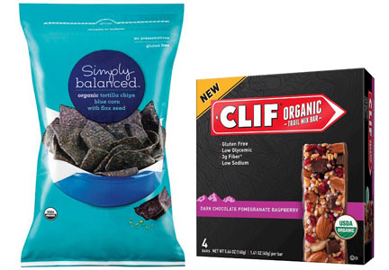 Target organic products - Simply Balanced organic chips, Clif organic bars