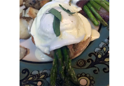 Bacon-wrapped asparagus eggs Benedict, The Bacon Tree