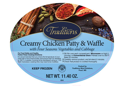Creamy chicken and waffle frozen entree