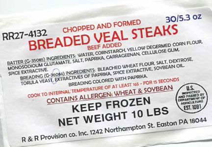label for R&R Provision Co. breaded veal steak