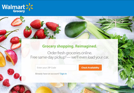 Walmart online grocery order and pickup screen