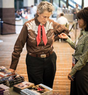 Temple Grandin makes time to exchange ideas and information.