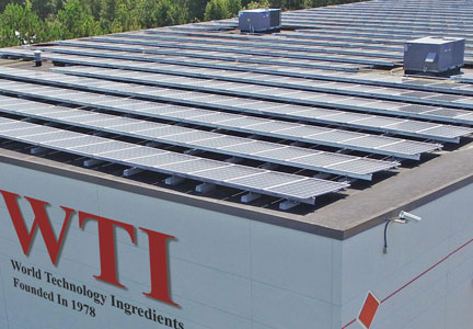 WTI Inc. installed solar panels at its headquarters in Jefferson, Ga.